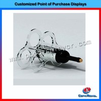 Customized design acrylic tabletop wine small display shelf