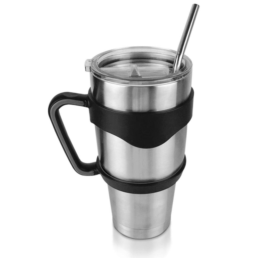 double wall stainless steel 18/8 vacuum tumbler with spill sproof lid and steel bent straw insulated beer cup with handle