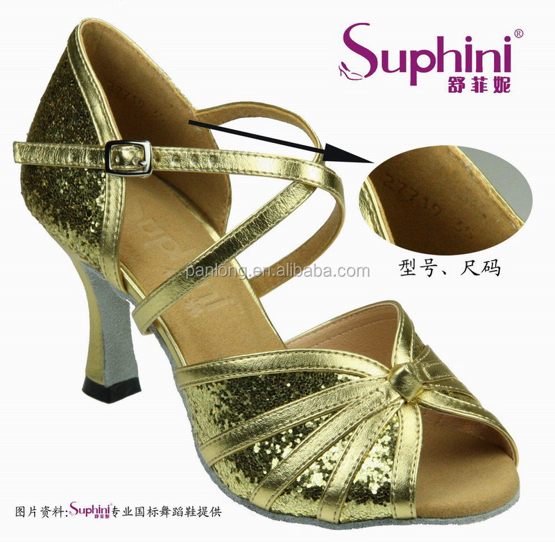 Suphini Gold Glitter Kids Ballroom Salsa Latin Dance Shoes