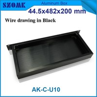 extruded aluminum electronic enclosures 19 inch Rack Black color brushed 44.5x482x200mm
