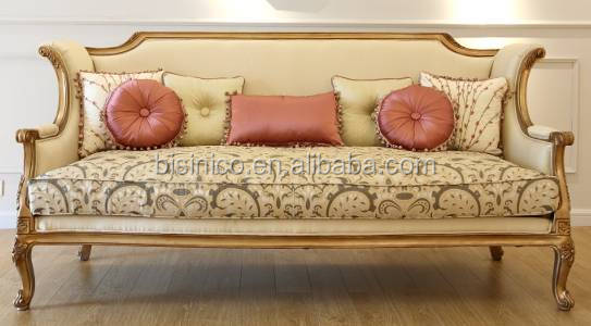 Vintage French Elegant Floral Fabric Sofa Set In Living Room/ Provincia Home Furniture Royal Palace Wooden Carving Sofa Reliner
