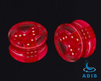 2013 new acrylic ear plug with three dices inside piercings