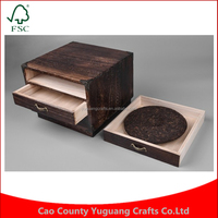 Japanese Furniture Paulownia Design Organizer Dark Finish Tea Storage Wood Gift Box