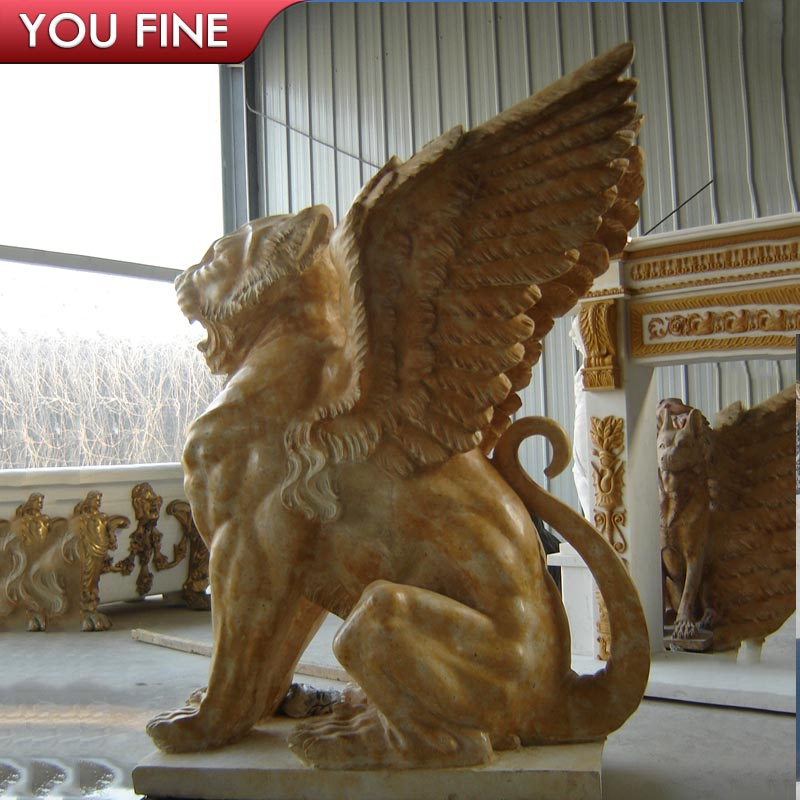 Outdoor decorative Natural Stone marble flying lion with wings Sculpture