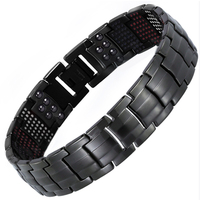 IPG Plated Black Color Titanium Bracelet With 591PCS Energy Stone