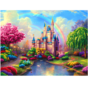 Beautiful castle mixed shapes rhinestones diy crystal diamond painting