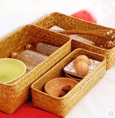 Seaweed series handmade straw baskets rectangular storage box zakka picnic basket desktop makeup box