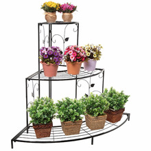 Metal Step Style 3 Tier Corner Shelf Flower Pots Display Stand