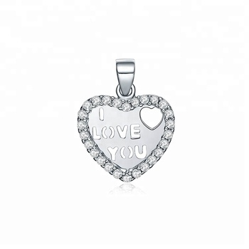 925 Sterling silver Heart Pendant Engraved I love You Zircon Pendant For Women Gift