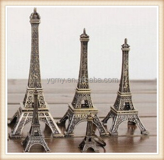 Bronze Tone Paris Eiffel Tower Figurine Statue Antique Home Decoration Vintage Metal Crafts Model