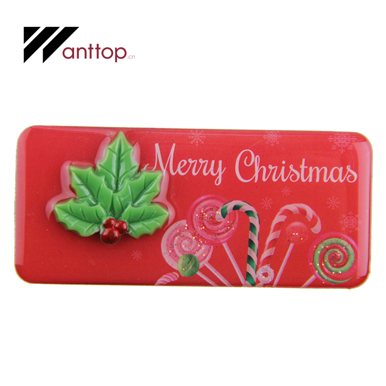 Eco-Friendly Promotional Red Rectangle Candy Cane Bar 3D Christmas Holly Stylish Epoxy Fridge Magnet