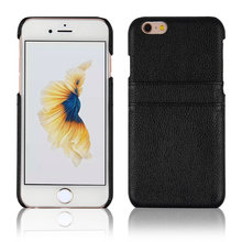 C&T Black card holder pc case with pu leather sticker for iphone 6