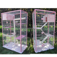 QQPet Factory Direct Sale New Design Multifunctional Cat Cages With Scratch Post Metal Cat Cage Houese