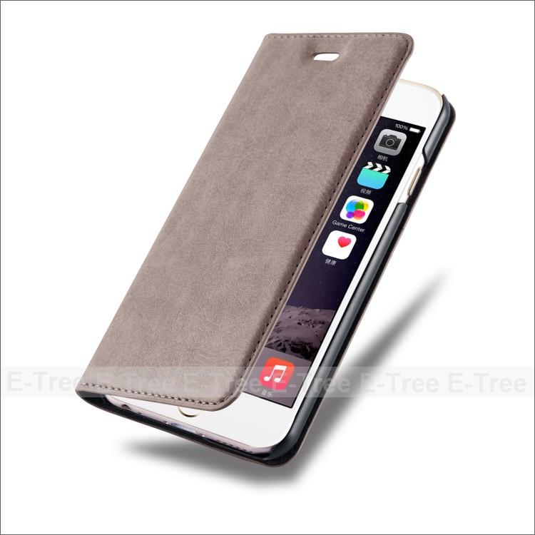 Custom Flip Cover Strong Magnetic Wallet Phone Case For iPhone 7 Plus Leather