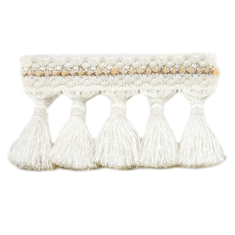 Cheap colorful white cotton tassel fringe for garments
