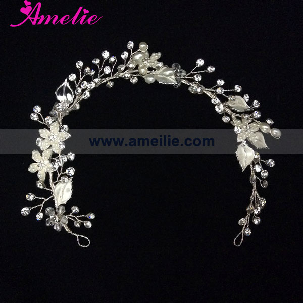 Pearl and Rhinestone Handmade Bridal Wedding Tiara