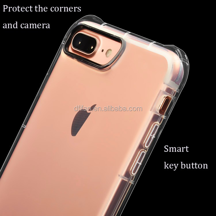 Shockproof TPU Bumper Transparent Case For Apple iPhone 7 Plus, For iPhone 7 Plus Back Shell Cover