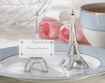 """Evening in Paris"" Eiffel Tower Silver-Finish Place Card Holder With Matching Card For wedding decorations"