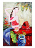 Popular classical Chinese sexy girl in red cloth portrait oil painting