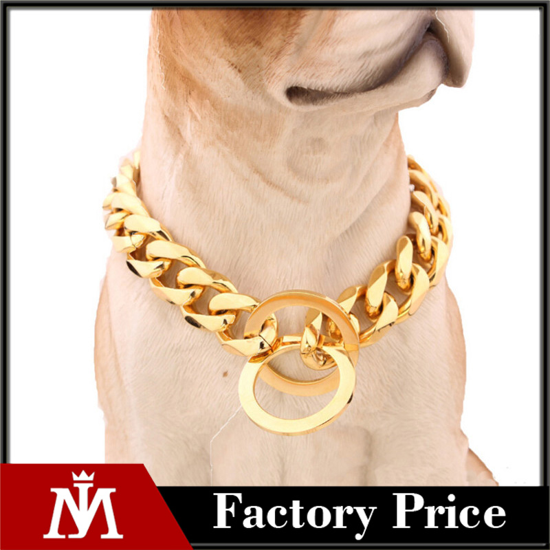 316 L Stainless Steel High Polished Weld IP Gold Plated Pet Dog Collar