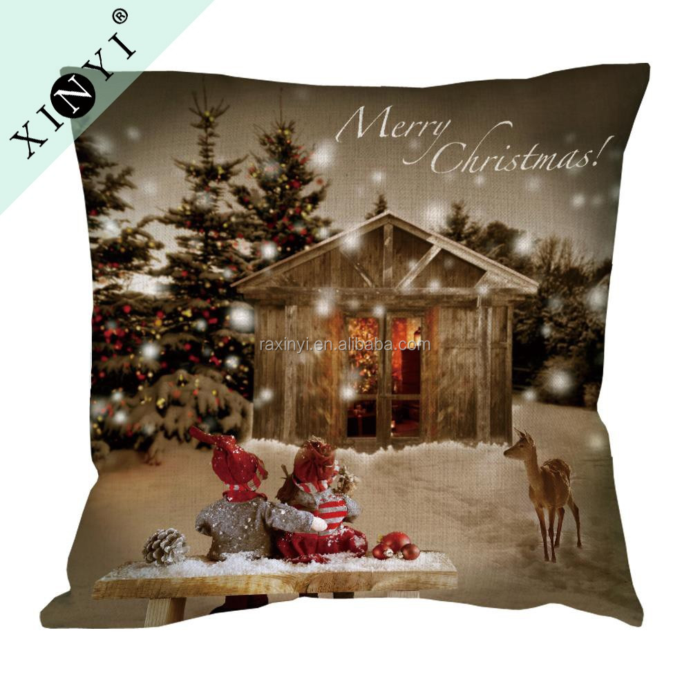 Christmas theme custom printing cushion covers hot selling colorful home decorative pillow case cover
