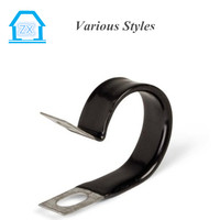 2016 hot sell R type steel fixing pipe hose clamps with rubber hose Clips
