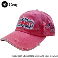 high quality red worn-out baseball cap and hat with embroidery canada flag