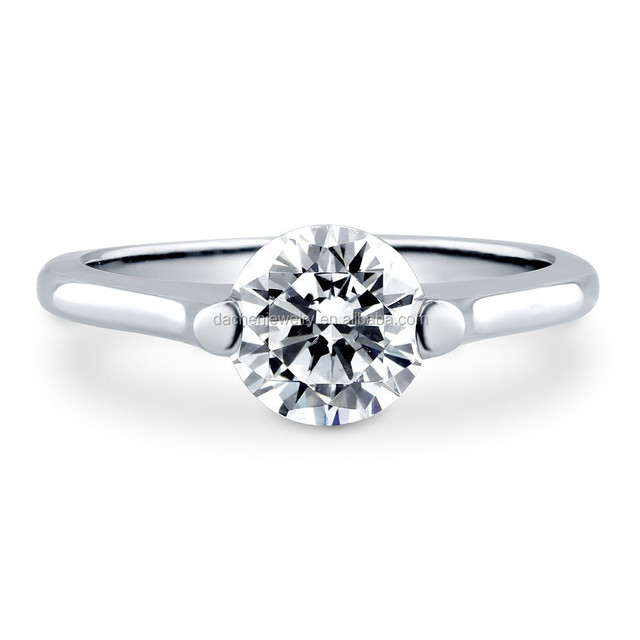 Simple Single Diamond Solitaire Rings Silver Ring For Wedding or Engagement Jewelry Set