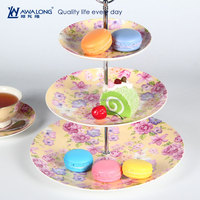 Round Shape Flower Pattern Plain White Round Porcelain Three Tier Cake Plate, Wedding Cake Stand