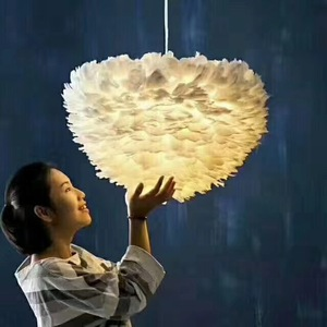 Creative feather chandelier LED modern warm children's room romantic bedroom chandeliers 220V 110V export lamps