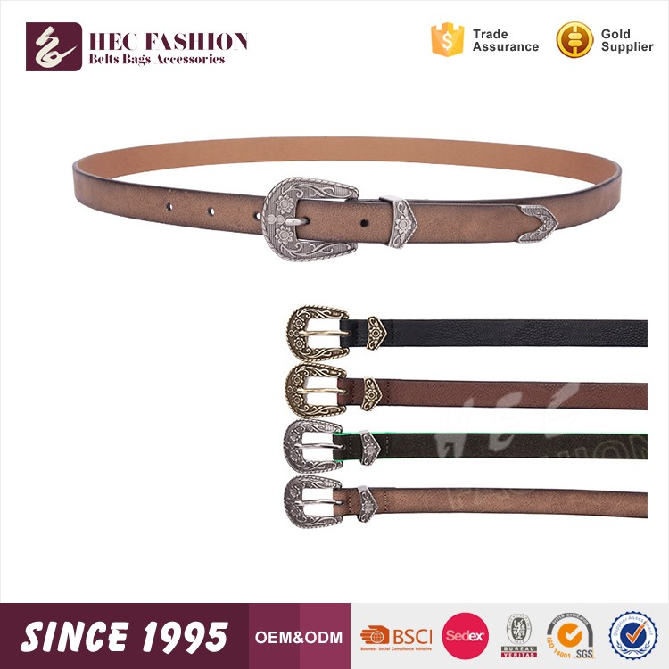 HEC Free Sample Whoeslae Black Color Fashion Leather Belt
