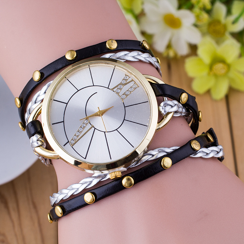 Wholesale 2017 Fashion Multilayer woven leather cord butterfly bracelet watch women