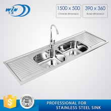 WY-15050D 1500 length double bowl double drainboard stainless steel bar sinks for long cabinet design