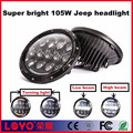 china supplier round 105w 7 inch jeep light for motorcycle led headlight