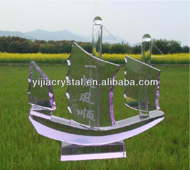 purple crystal sailing boat figurine