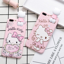 carton silicone phone case cute soft pink hello kitty carton girl mobile phone silicone case for phone 6 7 8
