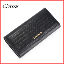 2016 high quality black wallet 100% genuine leather ladies purse,leder damen geldbeutel
