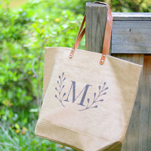 PT001CZ Personalized Natural Jute Burlap Zippered Tote Bag With Pocket