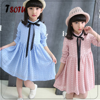 JL26 2016 Spring and Autumn new long-sleeved dress big children princess dress A word lace dress girls tide