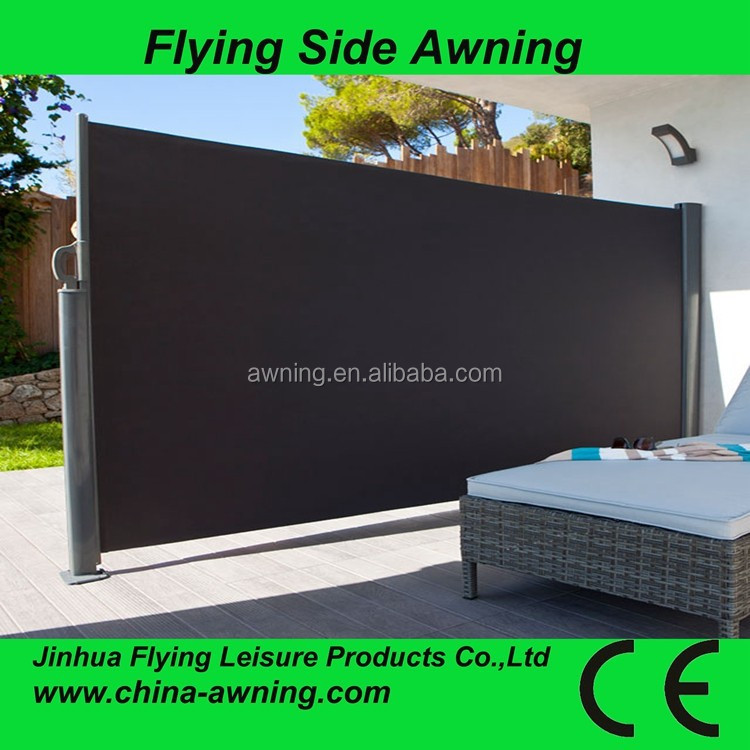 Outdoor retractable wind screen side awning for balcony/french awning