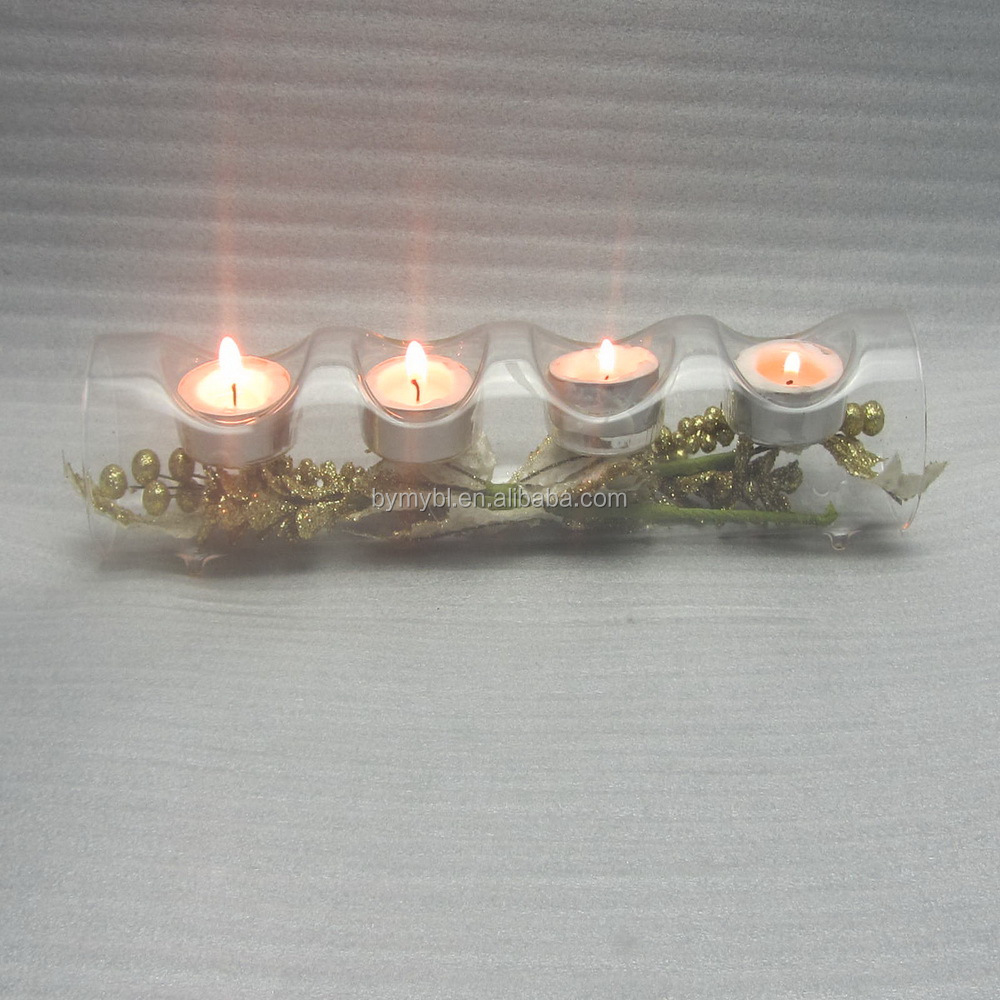 Tea Light Candle Log for 4 Candles, Clear Glass Tube Tea Light Candle Holders