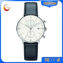 High Quality Watches Chronograph Quartz Stainless Steel 316L Watch Leather Wristwatch
