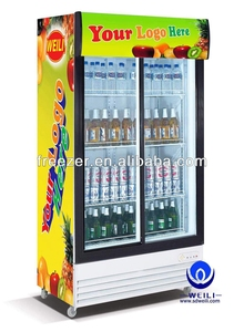 Sliding Double Doors Display Cooler/Upright Refrigerator/Vertical Refrigerated Showcase