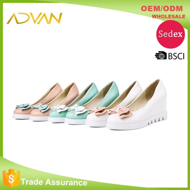 Cheap Wholesale Women Wedge Shoes Plus Size Round Toe Bowtie Solid Slip On Women Shoes