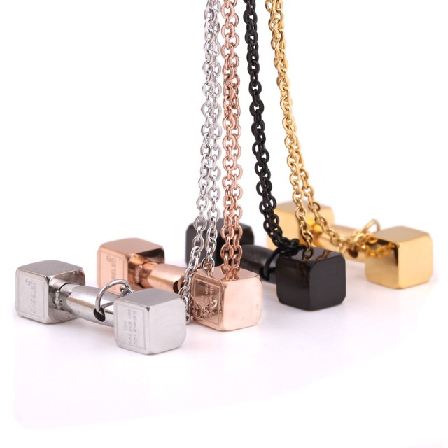 316L Stainless steel Barbell Pendant Necklace Girls Fashion Sport Style Jewelry Wholesale various Necklace