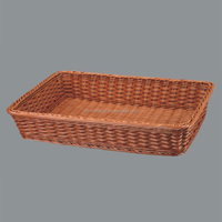 Rectangle plastic woven plastic bread display tray rattan storage basket