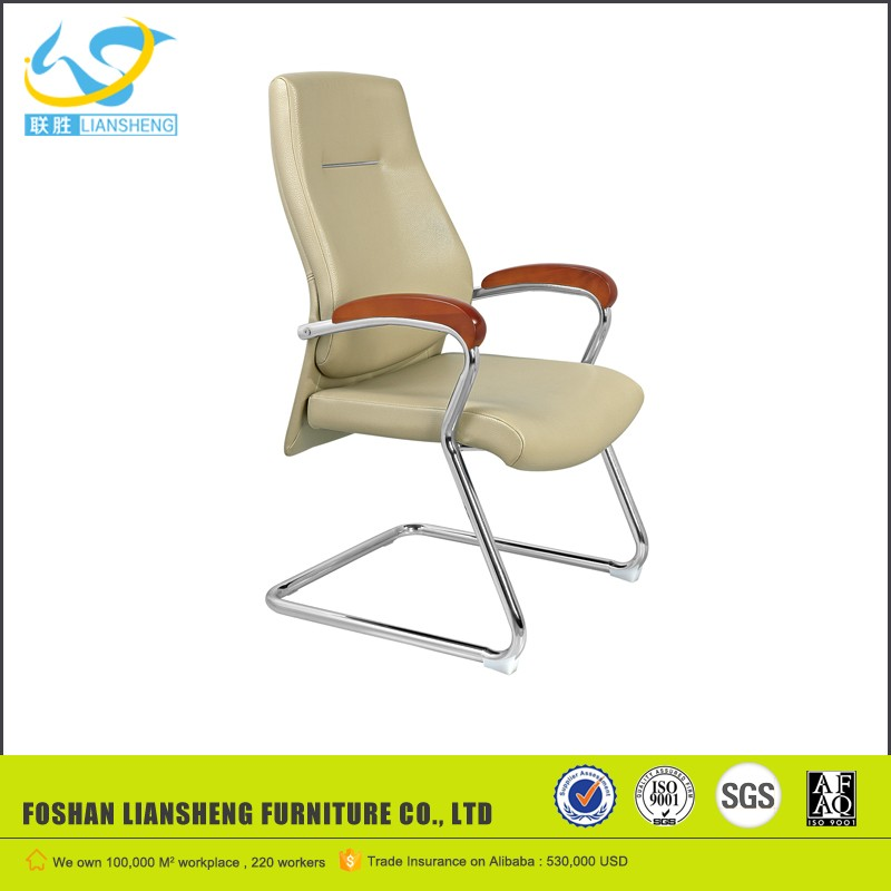 Modern Office furniture low price visitor chair black genuine leather office chair with no wheels AH-432