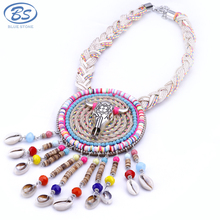 MBN006 cow head beaded wood sea shell necklace chain tribal jewellery statement tassel choker boho jewelry necklace