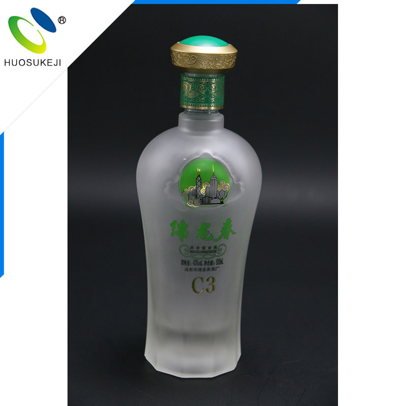 Custom made 500ml unique shape frost whisky or wine glass bottle for sale