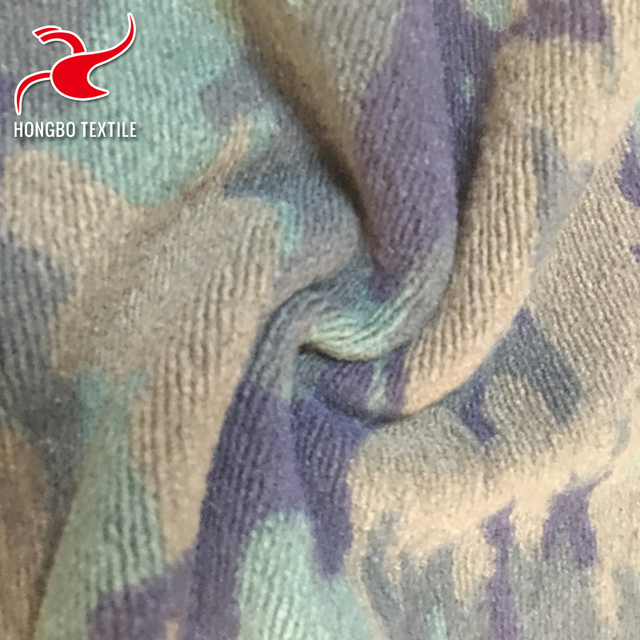 Custom-made soft touch camouflage weft knitted wool polyester fabric for autumn clothing
